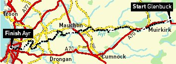 Route of River Ayr Way from Glenbuck through Muirkirk to Ayr