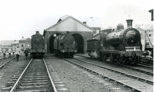 Railway Engines 57566, 44322 and 44283 at Muirkirk on 30th June 1963