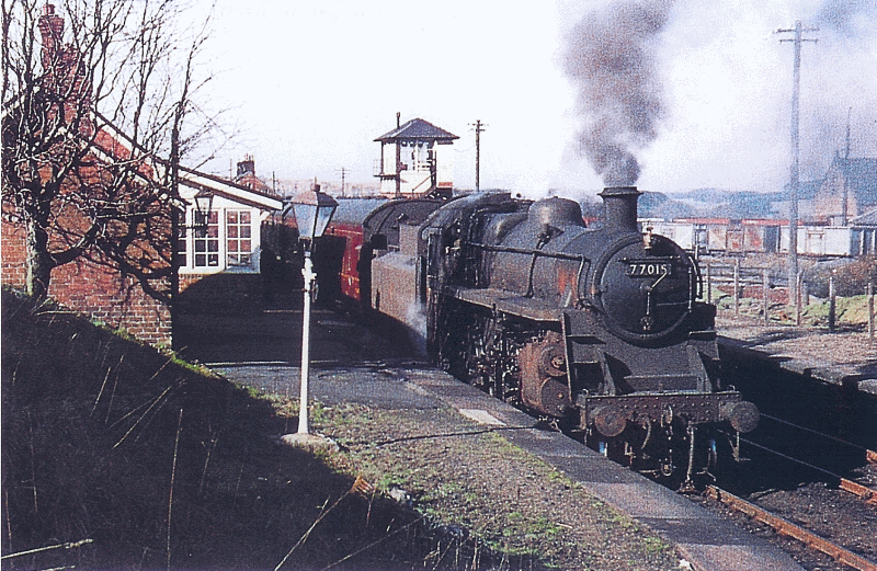Engine 77015 at Muirkirk Railway Station 1961