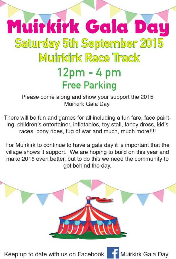 Muirkirk Gala Day 2015 schedule page 1