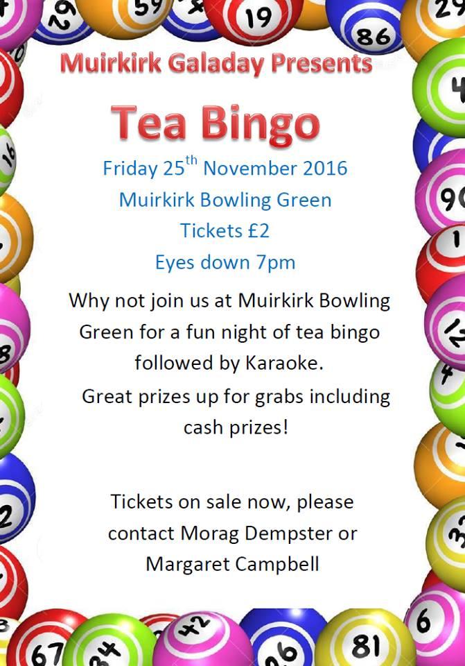 Muirkirk Gala Committee Gala Tea Bingo November 2016